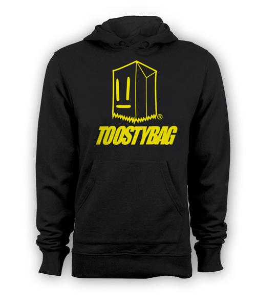 Poleron Toostybag c/letras Negro Diseño Amarillo