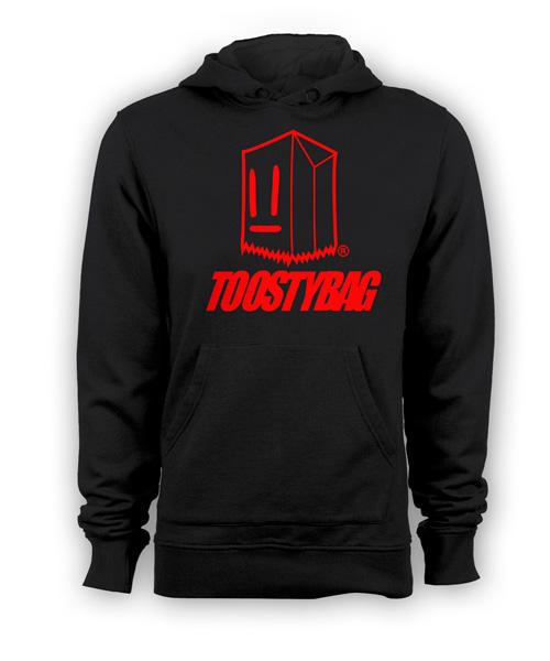 Poleron Toostybag c/letras Negro Diseño Rojo